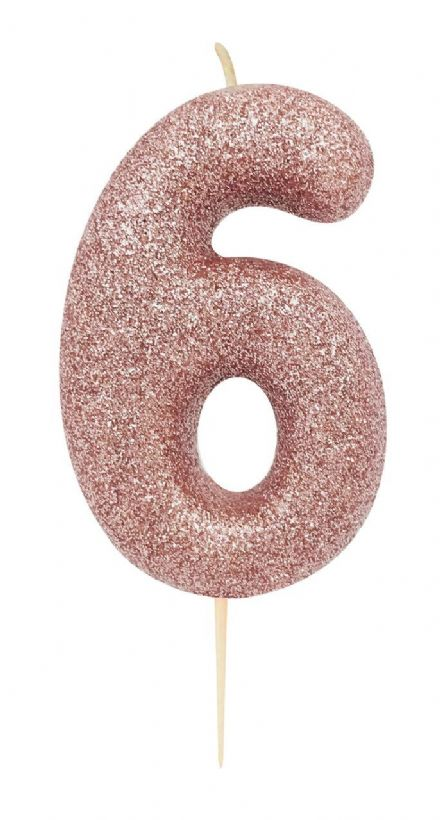 Number 6 Rose Gold Glitter Candle